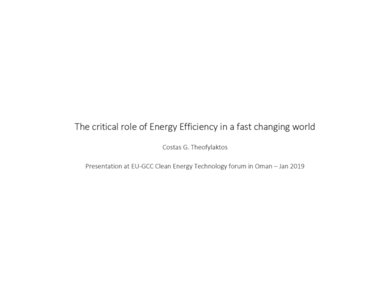 The critical role of Energy Efficiency in a fast changing world